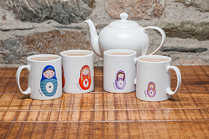Personalised 'Russian Doll Family' Mug Set