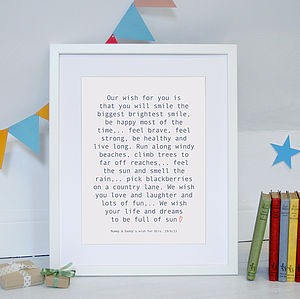 Personalised Baby Wish Print - christening gifts