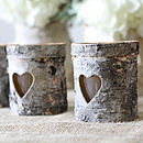 Three Wooden Bark Tea Light Holders
