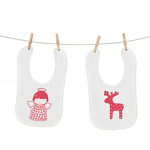 Reindeer Or Angel Christmas Bib - bibs