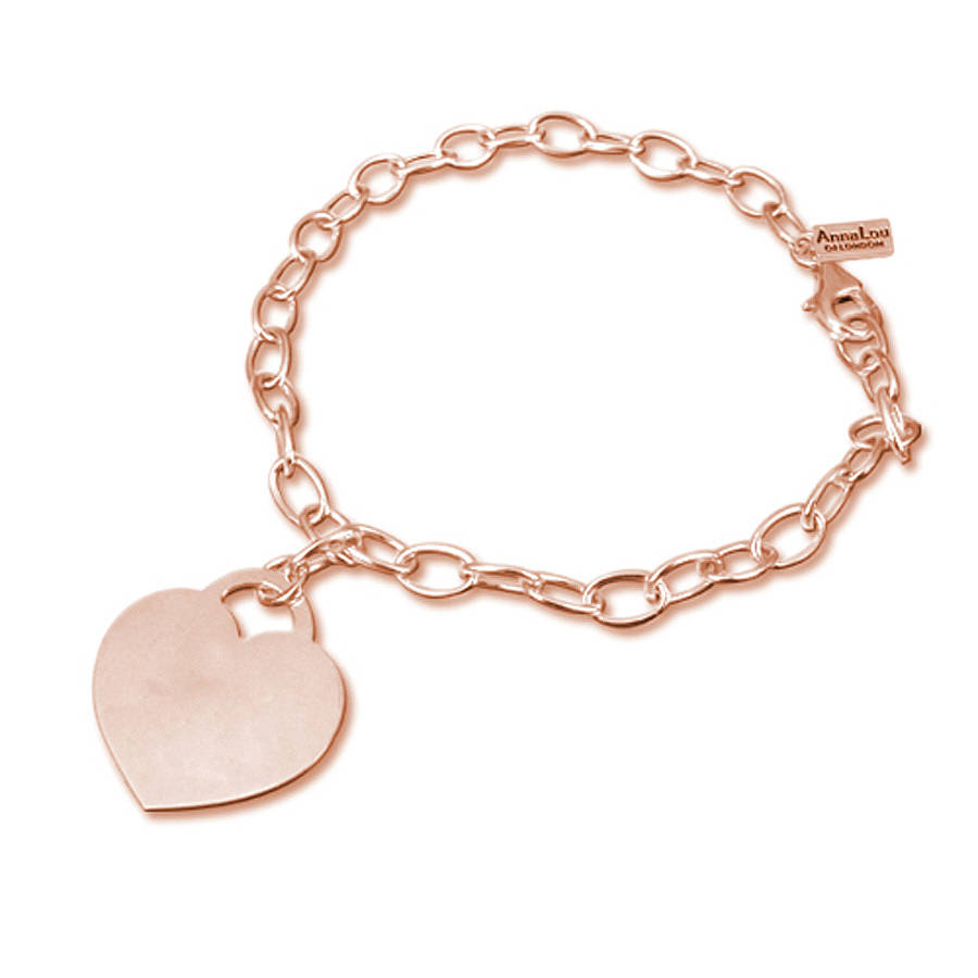 Personalised heart charm bracelet by anna lou of london personalised heart charm bracelet aloadofball Gallery