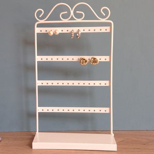 Four Tier White Earring Stand - bedroom