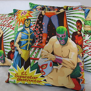 Mexican Wrestler Cushion Cover - cushions