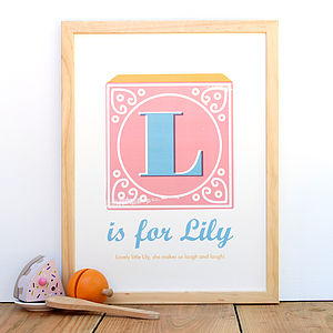 Personalised Alphabet Block Letter Name Print