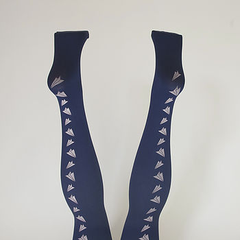Navy Paper Plane Tights