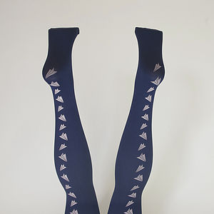 Hand Printed Paper Plane Tights - women's fashion