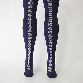 Navy Snowflake Tights