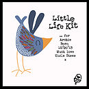 'Little Life Kit' - showing example personalised message with blue bird