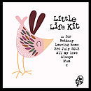 'Little Life Kit' - showing example personalised message with pink bird
