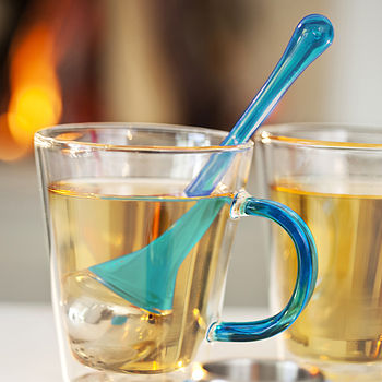 Tea Infuser With Holder Turquoise
