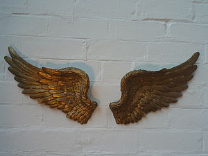 Gold Angel Wings - sculptures