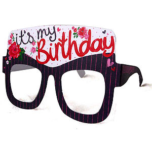 Birthday Girl Card Glasses