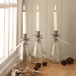 Glass Candle Holder With Hanging Heart Detail - candles & candlesticks
