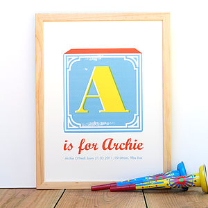 Personalised Vintage Alphabet Name Print - pictures & prints for children