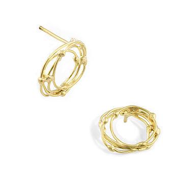 Gold Halo Stud Earrings