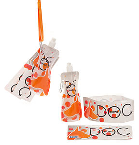 H2FidO Polka Dog Travelling Bowls And Bottle - food, feeding & treats