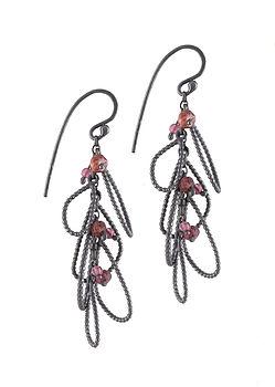 Oxidised Silver Cluster Earrings