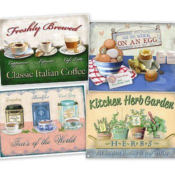 Set Of Four Vintage Kitchen Metal Signs