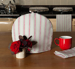 Malvern Grey Red Stripe Tea Cosy