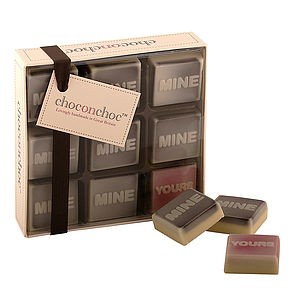 'Mine, Mine, Yours' Chocolates - stocking fillers under £15