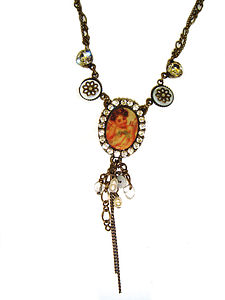 Antique Style Diamante & Cameo Necklace