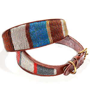 Whippet Or Lurcher Leather Beaded Dog Collar - pet collars