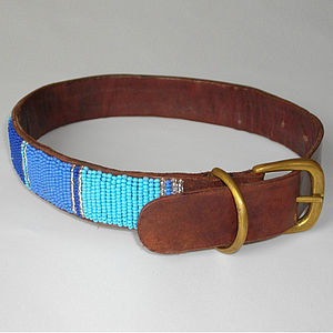 Standard Leather Beaded Dog Collar - dogs