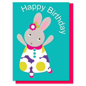 Betty The Bunny Happy Birthday Card