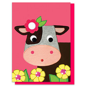 Collette The Cow Printed Appliqué Card - shop by category
