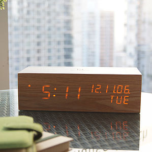 LED Oak Wood Alarm Clock - clocks