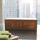 LED Oak Wood Alarm Clock