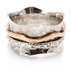 Bronze And Silver Spinning Ring - women's jewellery