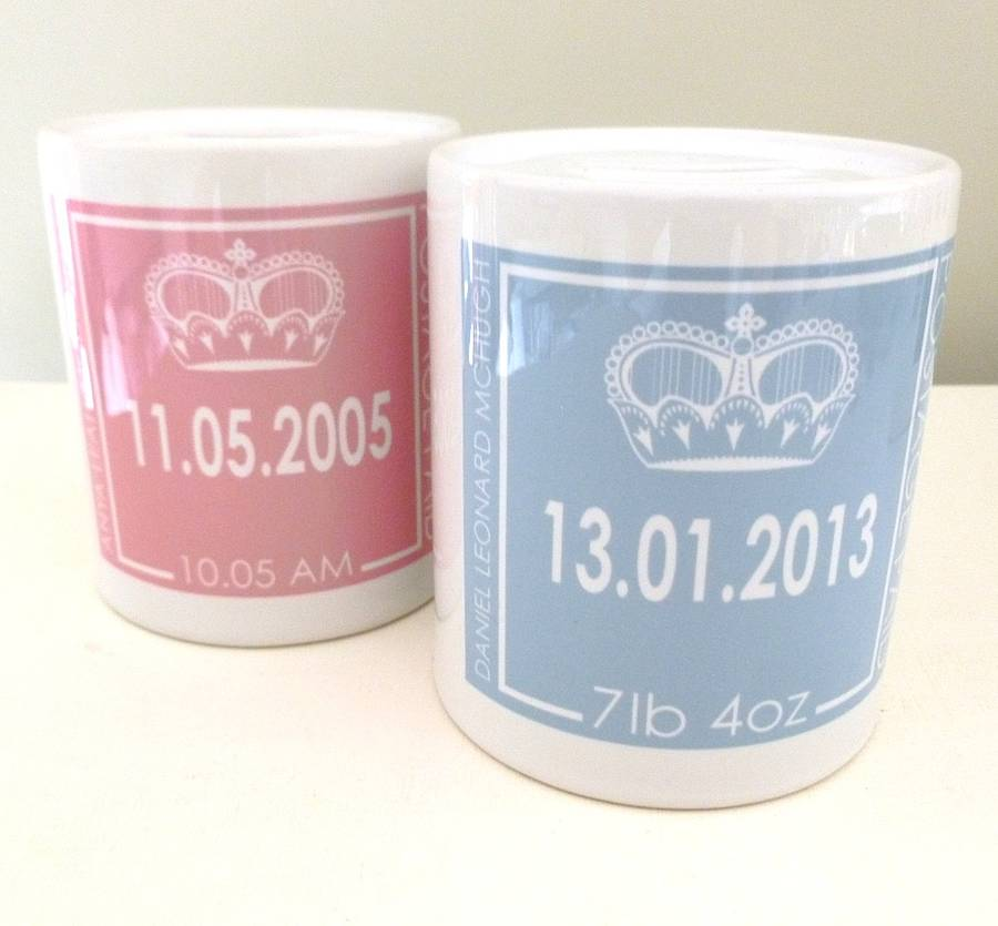 New baby personalised birth date money box by tilliemint new baby personalised birth date money box royal baby gift negle Choice Image