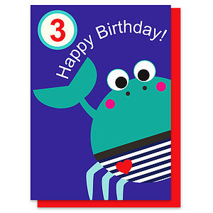 Crispin The Crab Age Three Card - birthday cards