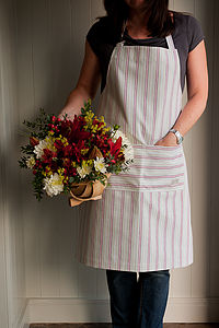 Malvern Grey Red Stripe Kitchen Apron