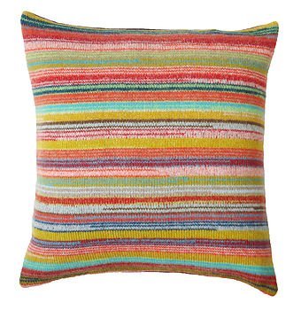 Locomotive Stripe Knitted Lambswool Cushion