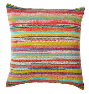 Locomotive Stripe Knitted Lambswool Cushion - cushions