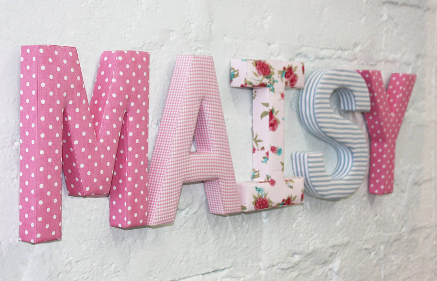fabric letters by babyface notonthehighstreetcom With decorative fabric letters for walls