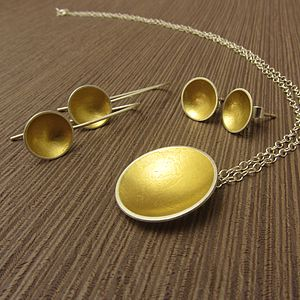 Cup Of Gold Pendant And Earrings Set - necklaces & pendants