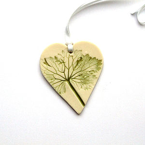 Handmade Heart Hanging Decoration With Leaves - wedding favours