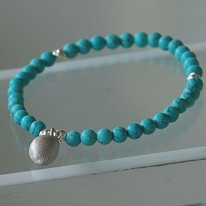 Handmade Silver Cowrie Shell And Gemstone Bracelet