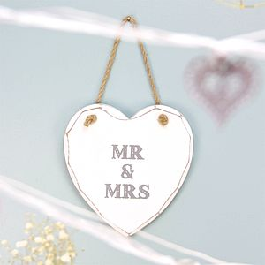 Mr And Mrs Hanging Heart Sign - decorative accessories