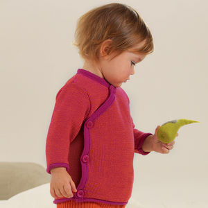 Organic Merino Wool W Rap Over Baby Jumper - more