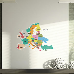 Map Of Europe Wall Stickers
