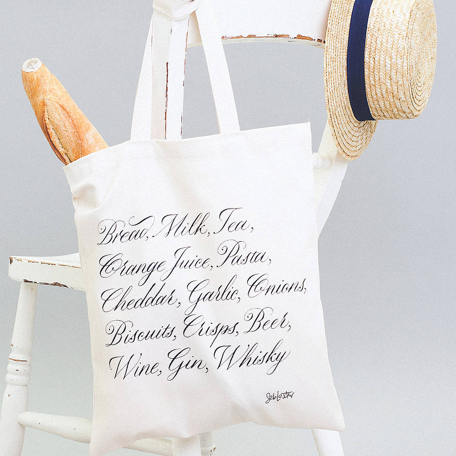 shopping list' tote bag by alphabet bags | notonthehighstreet.com