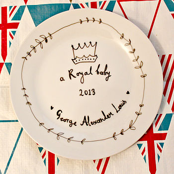 Royal Baby Name Plate Hand Illustrated