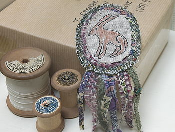 Hare Embroidered Rosette Brooch