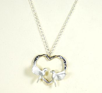 Silver Heart Love Bird Necklace