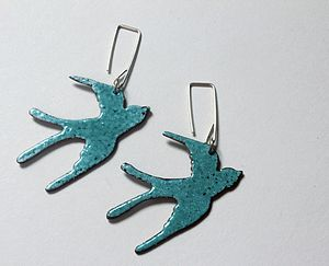 Enamel Swallow Earrings