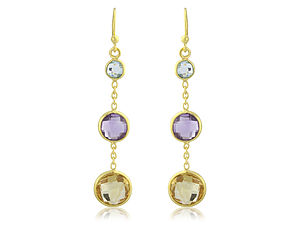 Fiesta Triple Drop Gemstone Earrings - earrings